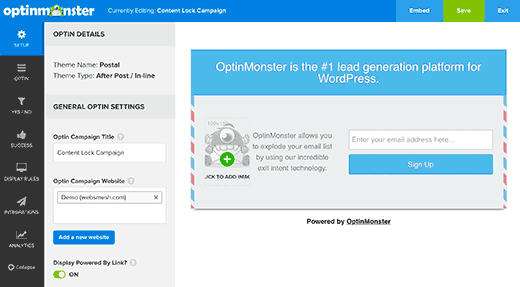 OptinMonster's optin builder