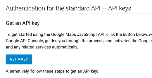 Get API Key button