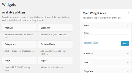 Adding Meta widget to your WordPress sidebar