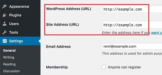 Ändern der Optionen für WordPress-Adresse und Site-Adresse im Admin-Bereich