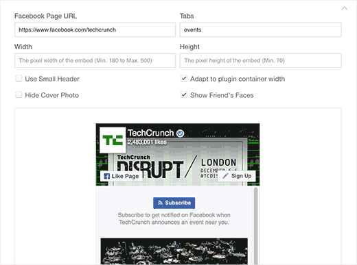 Facebook page plugin settings