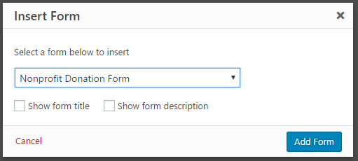How to create a nonprofit donation form in wordpress inserting your donation form on the wordpress page altavistaventures Image collections