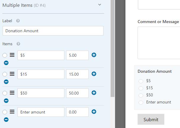 de donatiebedragen van meerdere artikelen aanpassen
