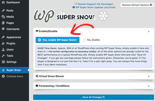 WP Super Snow settings page