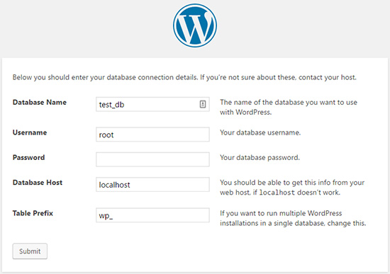 setting up the WordPress database