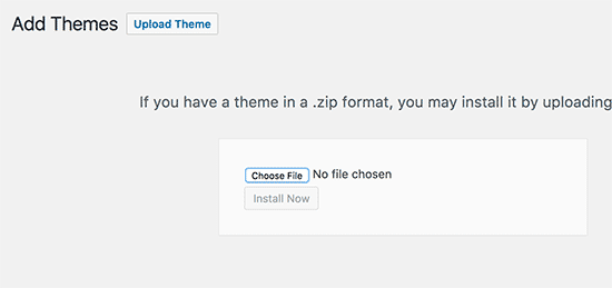 Upload your child theme's zip file