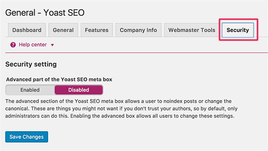 Yoast SEO - Security