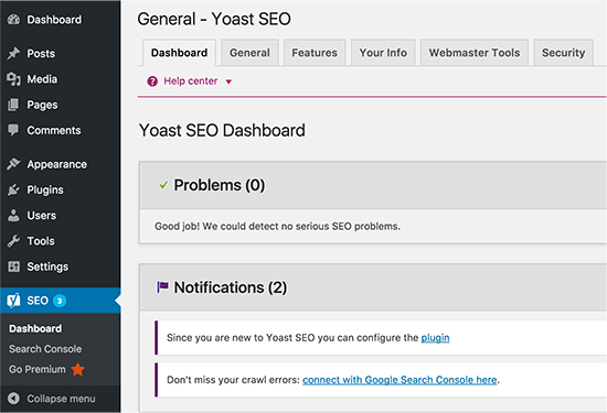 Yoast SEO plugin installed
