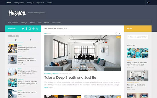 Hueman Is One Of The Most Por Free WordPress Themes It Comes With A Multi Column Layout And Can Be Easily Used On Any Kind Content Rich Blogs Or