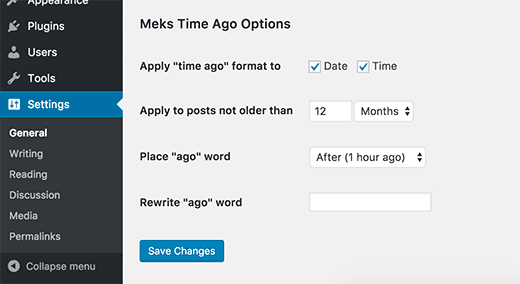 Meks Time Ago plugin settings