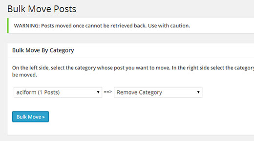 Moving posts between categories and categories