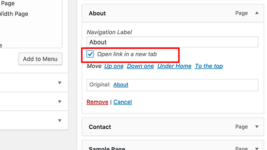 Open link in a new tab or window