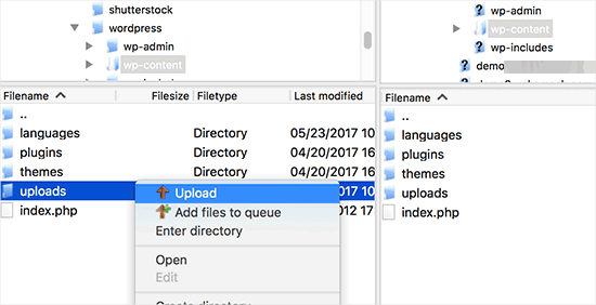 Upload the uploads folder