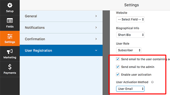 User registration settings