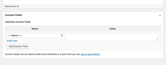 Custom fields meta box on post edit screen in WordPress