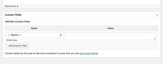 Aangepaste velden metabox op berichtbewerkingsscherm in WordPress