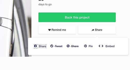 Kickstarter embed code
