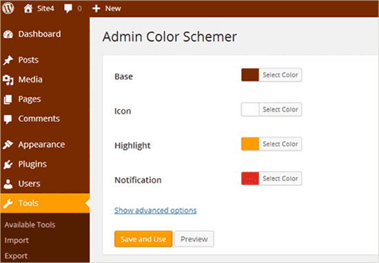 Admin color schemer