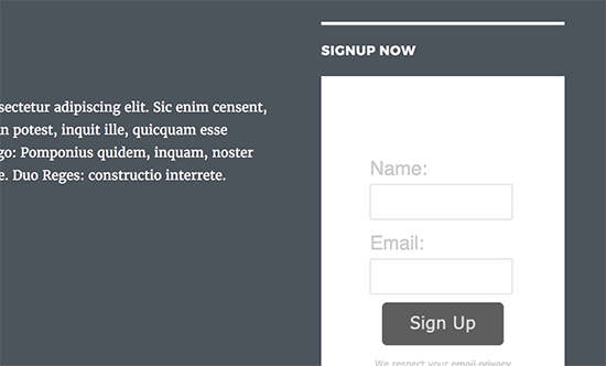 Basic AWeber email signup form in WordPress