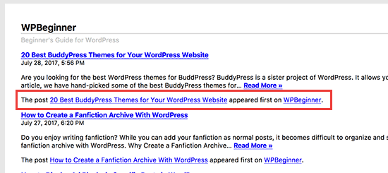 Footer text in WordPress RSS feed