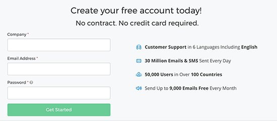 Creating SendinBlue account