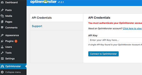 Add your OptinMonster API Key
