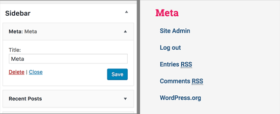 Meta widget in WordPress