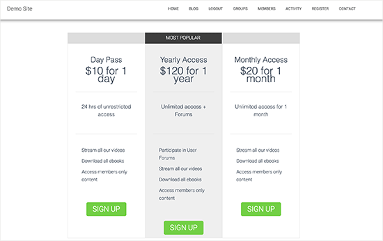 Pricing and plans page