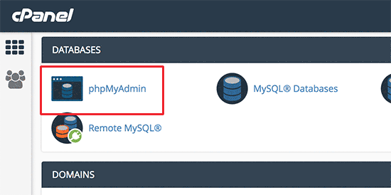 phpMyAdmin icon in cPanel