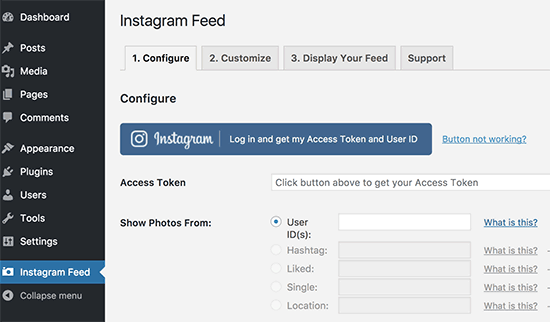 Get access token and user ID from Instagram