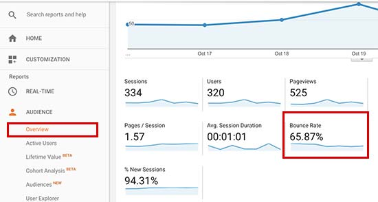 Checking bounce rate in Google Analytics