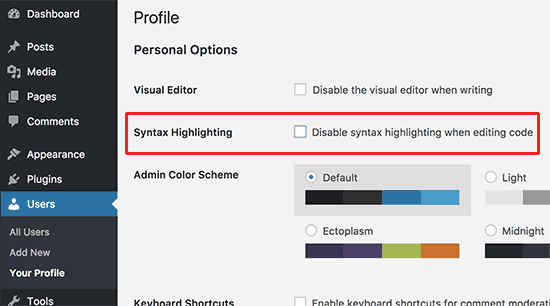 Disable syntax highlighting WordPress