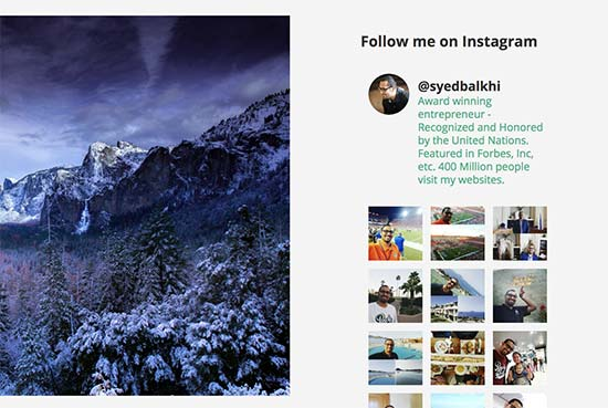 Instagram sidebar preview