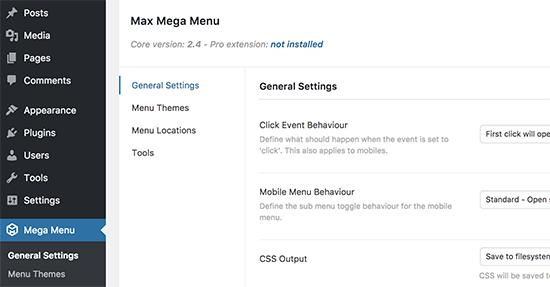 Mega-menu-instellingen
