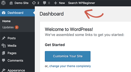 Adding custom link to WordPress admin bar