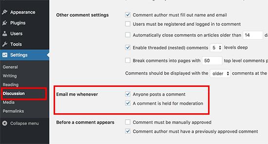 Notifications par défaut des commentaires WordPress par e-mail
