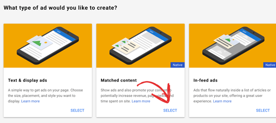Select Google Matched Content