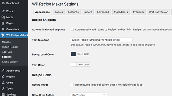 WP Recipe Maker settings
