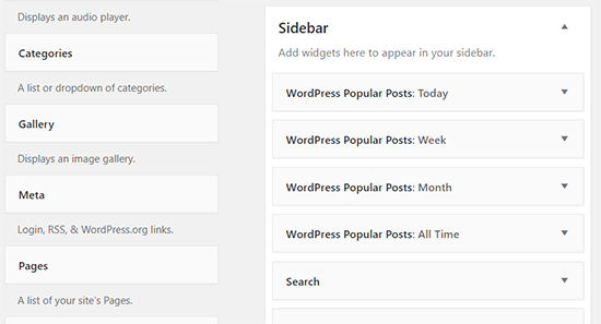 All popular posts widgets