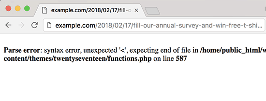 PHP error message