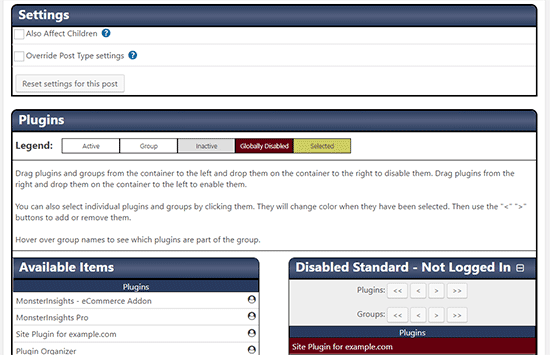 Plugin organizer section on post edit screen