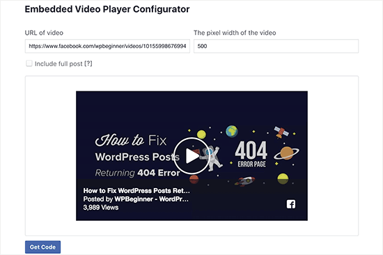 Facebook video embed code generator