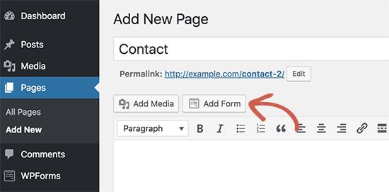 Adicionar formulário à sua página de contato
