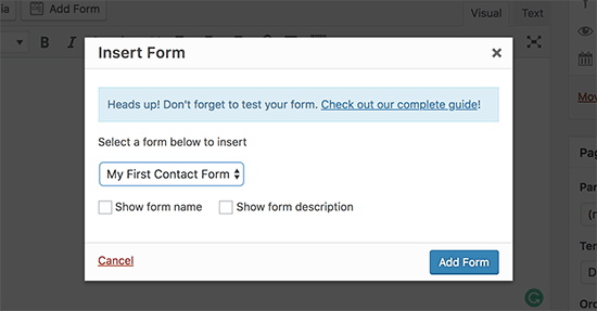 Selecione seu formulário de contato e adicione-o