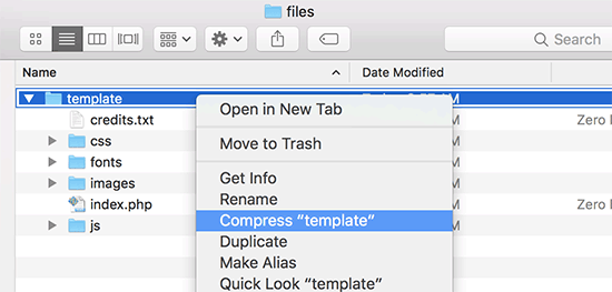 Create zip file in Mac