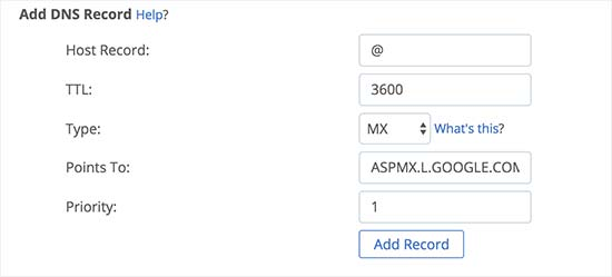 Adding MX records in Bluehost