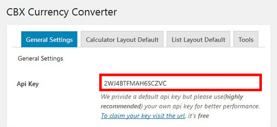 API key for converter