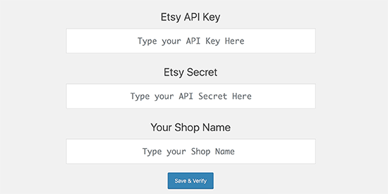 Enter Etsy app keys