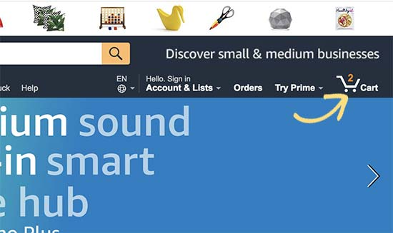 Amazon.com showing the sopping cart icon