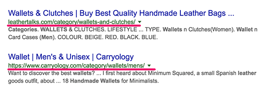 Category pages appearing in search results